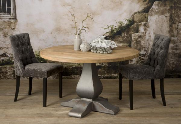 Masa rotunda cu blat din lemn de tec reciclat 130 cm x 78 cm maro deschis/argintiu