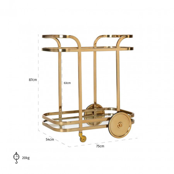 Masuta/Carucior pentru servire din sticla X.O., 87x75x54 cm, gold