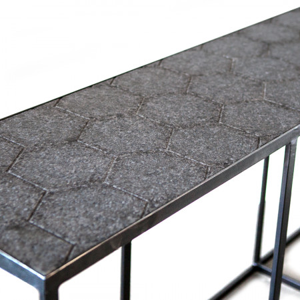 Masuta de cafea dreptunghiulara din marmura si metal 140x40x38 cm neagra