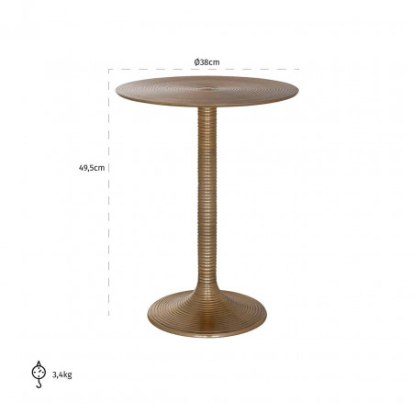 Masuta de cafea rotunda din aluminiu Dexter 49,5x38x38 cm aurie