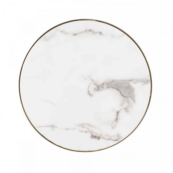 Masuta de cafea rotunda din marmură si otel Odin 55x45x45 cm alb/negru