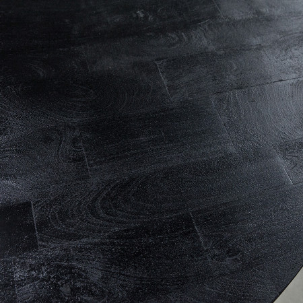 Masuta de cafea rotunda din metal si lemn de mango Steven 70x70x40 cm neagra