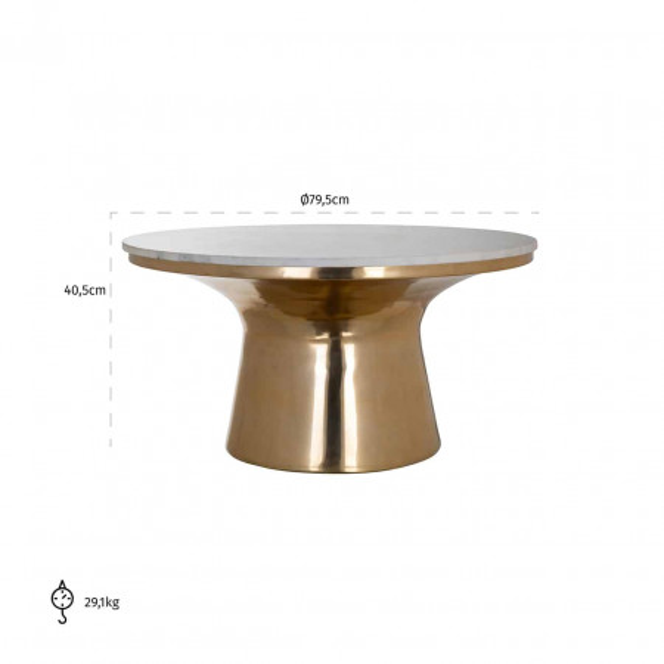 Masuta de cafea rotunda din piatra si aluminiu Jackson 40,5x79,5x79,5 cm auriu/gri