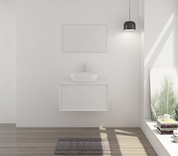 Set 2 piese mobilier pentru baie, alb, 80 cm