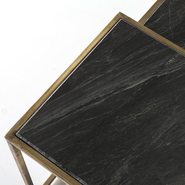 Set 3 masute de cafea patrate din marmura si metal Caesar 120x35x40 cm auriu/negru