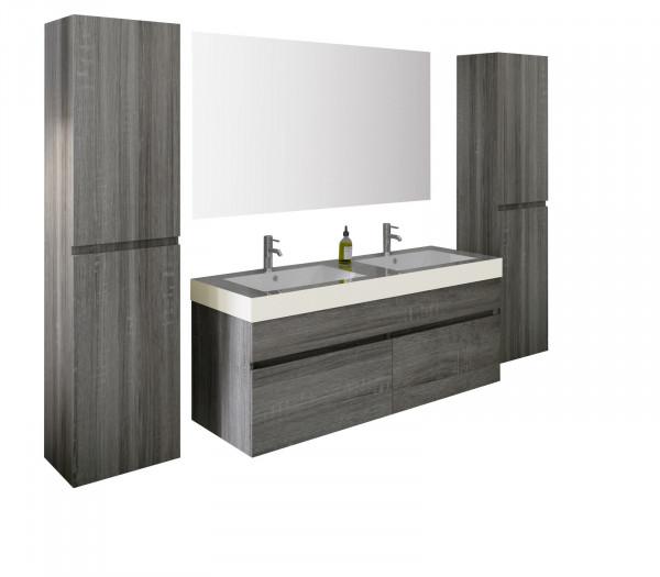 Set 4 piese mobilier din MDF pentru baie gri stejar, 140 cm