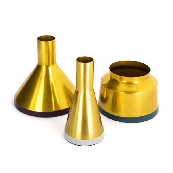 Vaze decorative Set 3 bucati Culture Auriu / Pflaume / Gri deschis / Petrol