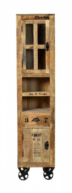 Vitrina din lemn de mango Rustic, maro, 44x191 cm