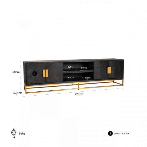 Comoda Tv din stejar Blackbone 220 cm