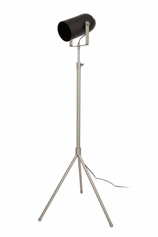 Lampadar din otel/alama/fier Celeste, negru/argintiu, un bec 27x53x133-163 cm