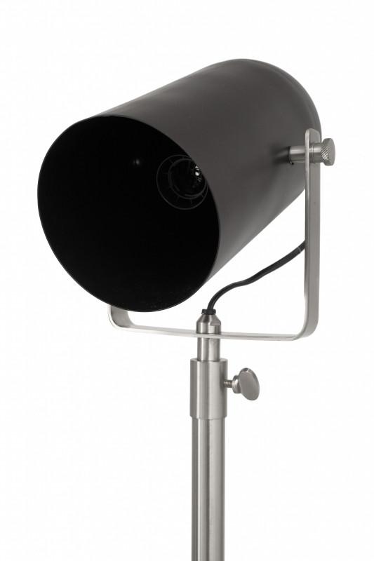 Lampadar din otel/alama/fier Celeste, negru/argintiu, un bec 27x57x158-195 cm