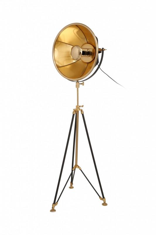 Lampadar din otel/aluminiu/bumbac Bowie auriu/negru