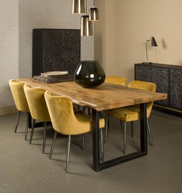 Masa dreptunghiulara cu blat din lemn de mango 240x100x77 cm maro/negru