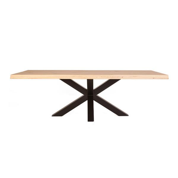 Masa dreptunghiulara cu blat din lemn de stejar 300x100x77 cm maro/negru