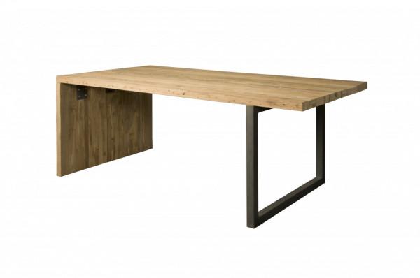 Masa dreptunghiulara cu blat din lemn de tec reciclat 260x100x78 cm maro deschis/gri