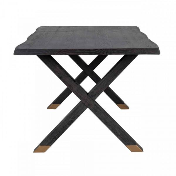 Masa dreptunghiulara din lemn de stejar 78 x 240 x 100 cm neagra
