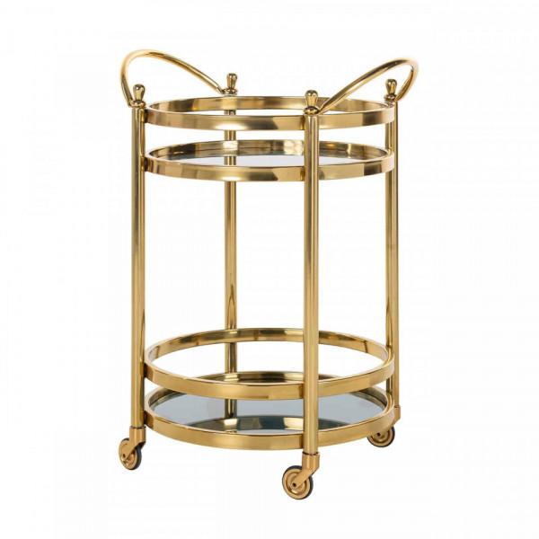 Masuta/Carucior pentru servire din sticla Hendricks, 74,5x55x45 cm, gold