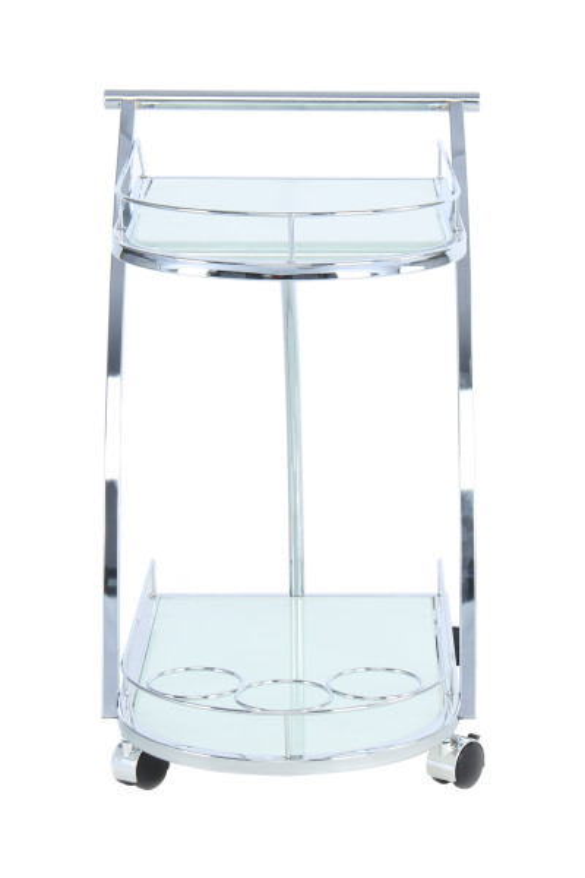 Masuta/Carucior pentru servire din sticla securizata James, 62x45x70 cm, alb/crom
