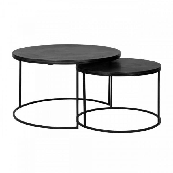 Set 2 masute de cafea rotunde din metal Bolder 60x60x60 cm negre