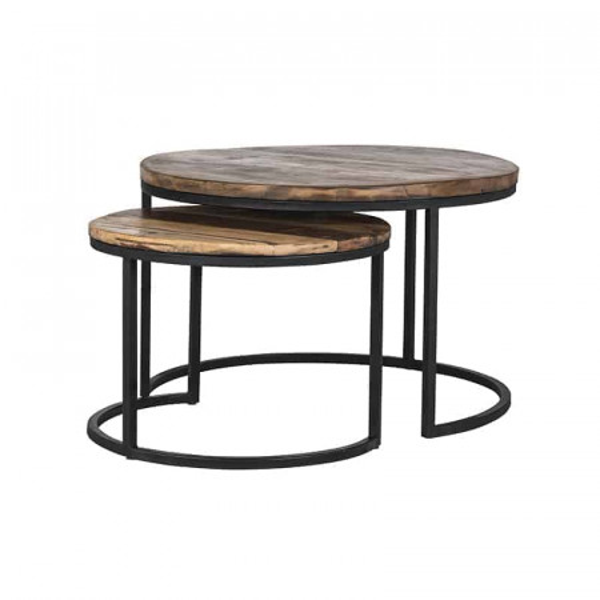 Set 2 masute de cafea rotunde din metal si lemn Brooke 45x76x76 cm maro