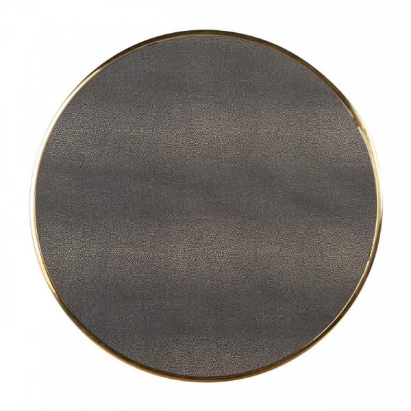 Set 3 masute de cafea rotunde Calesta 60.5x56.5x56.5 cm gri/auriu