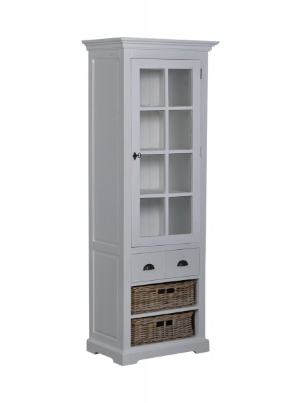 Vitrina din tec, o usa si 4 sertare
