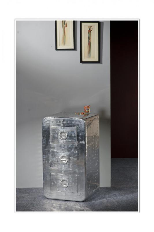Comoda cu 3 sertare din lemn de mango Airman, argintiu, 80 cm