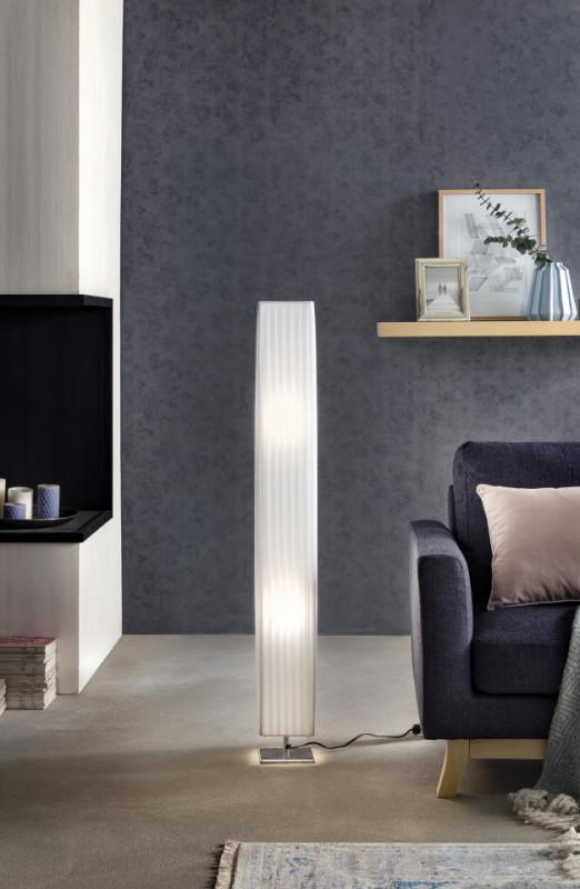 Lampadar patrat din latex/metal 120 cm alb, 2 becuri