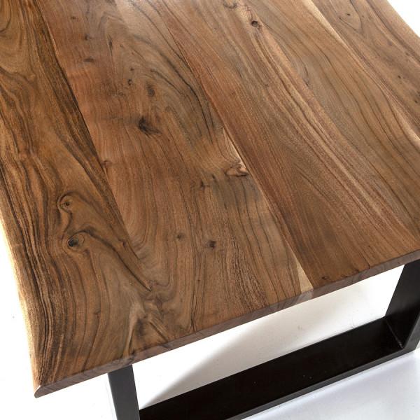 Masa dreptunghiulara cu blat din lemn de salcam 200x100x76 cm maro/negru