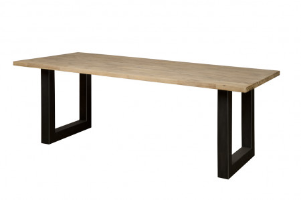 Masa dreptunghiulara cu blat din lemn de salcam 200x100x77 cm maro deschis/negru