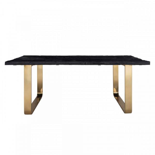 Masa dreptunghiulara cu blat din lemn de tec reciclat 76 x 200 x 100 cm neagra/auriu