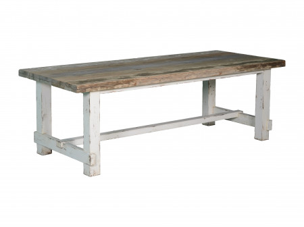 Masa dreptunghiulara din lemn 240x100x78 cm alb/maro