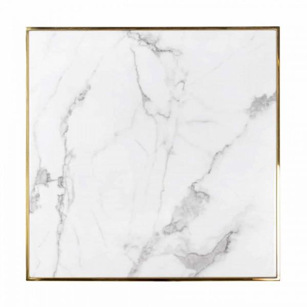 Masa patrata cu blat din marmura Osteria 75 x 80 x 80 cm alb/auriu/negru