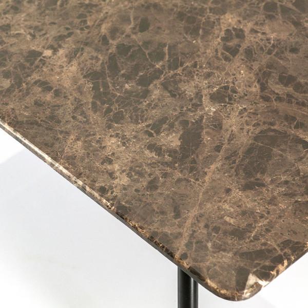 Masuta de cafea dreptunghiulară din marmura si metal Richy 110x56x41 cm maro