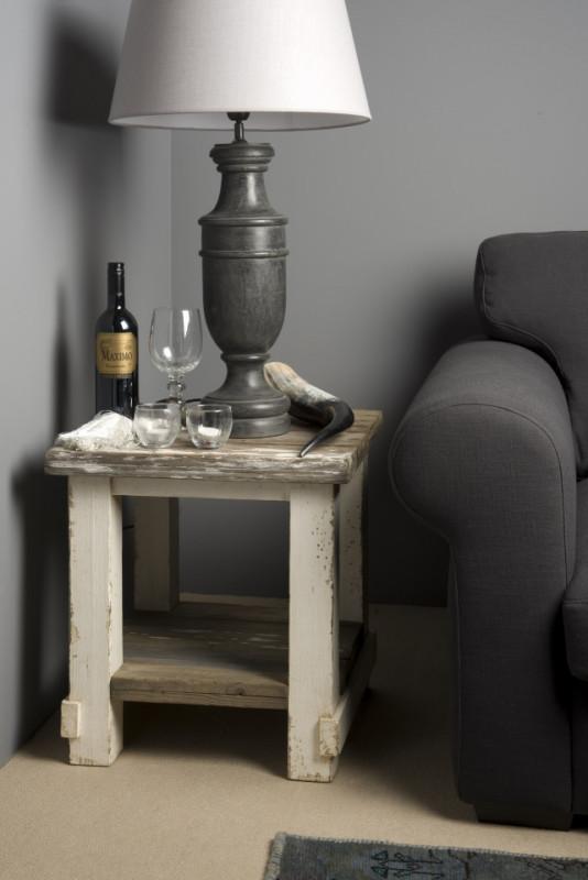Masuta de cafea patrata din lemn cu spatiu de depozitare 50x50x55 cm gri/alb
