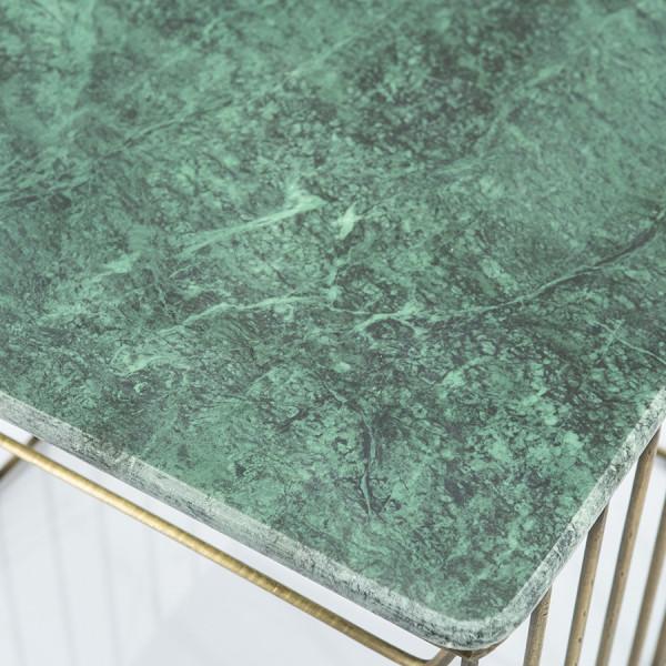 Masuta de cafea patrata din marmura si metal Caesar 50x50x43 cm auriu/verde