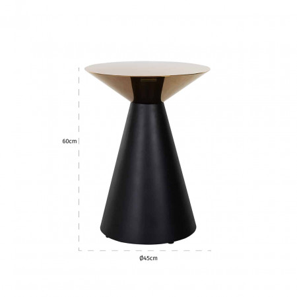 Masuta de cafea rotunda din metal Vector 45x45x60 cm aurie