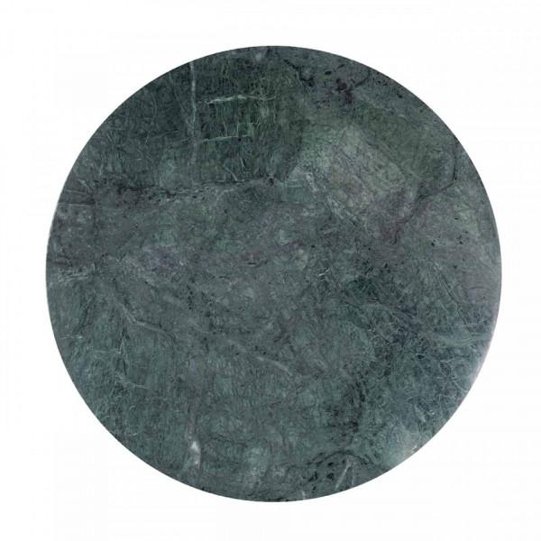 Masuta de cafea rotunda din piatra si metal Hogan 43,5x50x50 cm auriu/verde