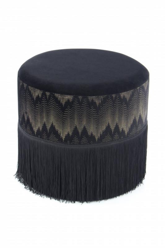 Puf/ Taburet tapitat cu franjuri Cleopatra negru