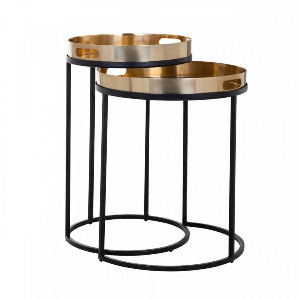 Set 2 masute de cafea rotunde din metal Lewis 57x35,5x35,5 cm negru/alama