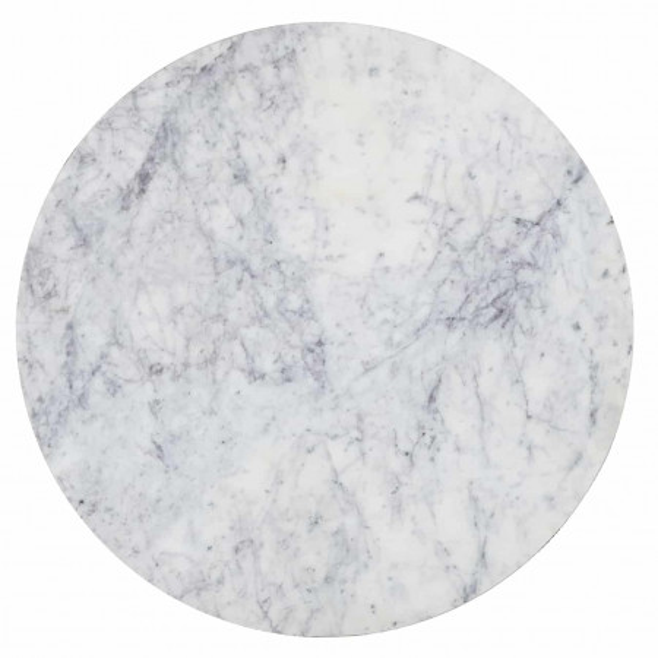 Set 2 masute rotunde din marmură si otel Lacey 57x45x45 cm albe