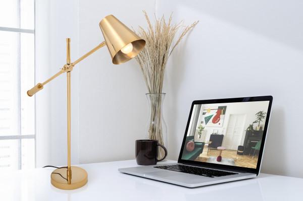 Lampa de birou din otel/alama/ fier Celeste, auriu, un bec