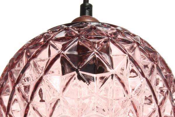 Lustra din sticla Mia roz, un bec
