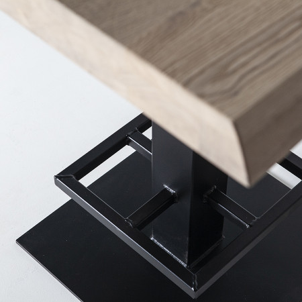 Masa de bar patrata din lemn de stejar 80x80x94 cm neagra