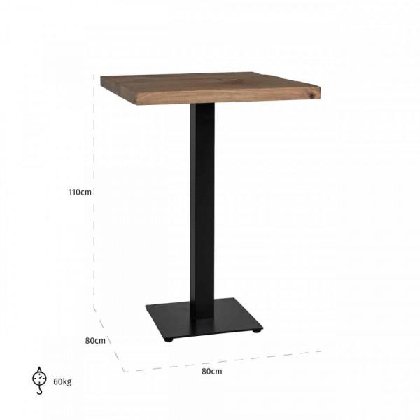 Masa de bar patrata din lemn de stejar Gastronomy 110x80x80 cm maro