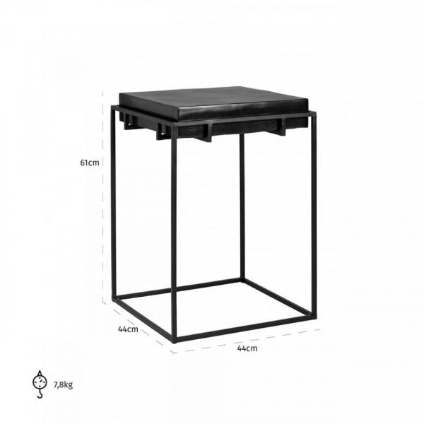 Masa de cafea patrata din metal Bolder 61x43,5x43,5 cm neagra