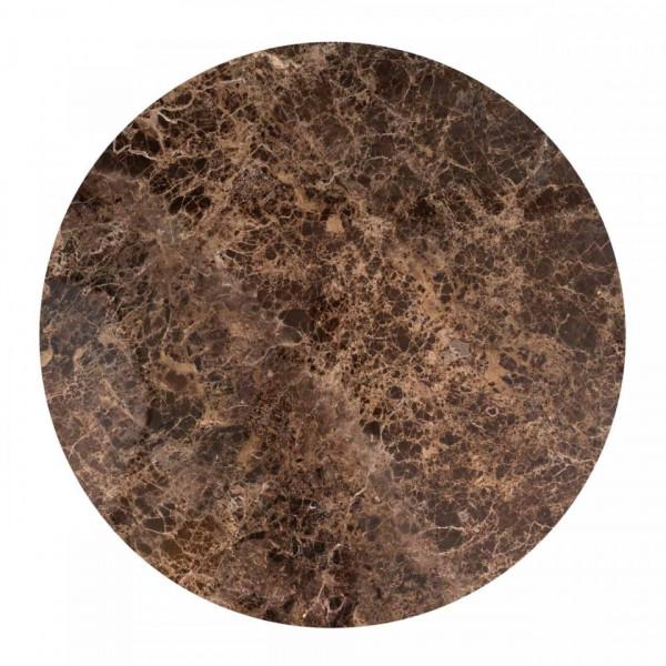 Masa rotunda cu blat din marmura Dalton 76 x 130 x 130 cm maro/negru
