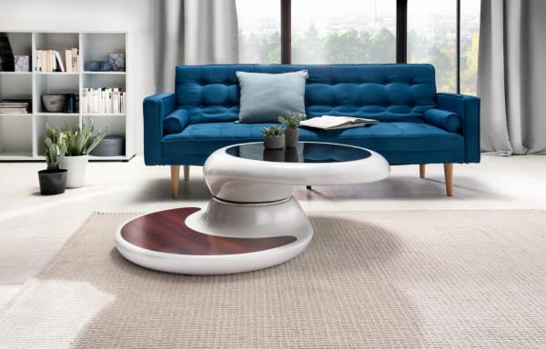 Masuta de cafea rotunda din fibră de sticlă cu blat rotativ 90x90x42 cm alba