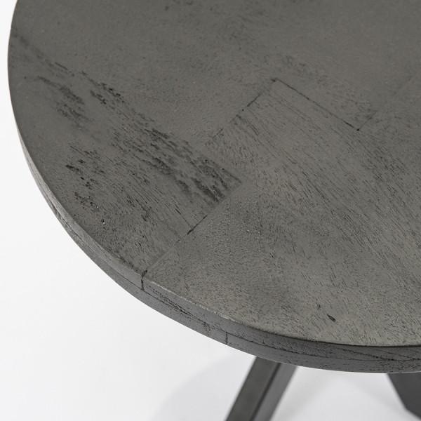 Masuta de cafea rotunda din lemn de mango si metal Steven 50x50x45 cm neagra