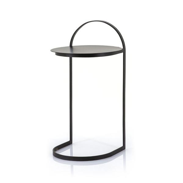 Masuta de cafea rotunda din metal Garcon 35x35x65 cm neagra